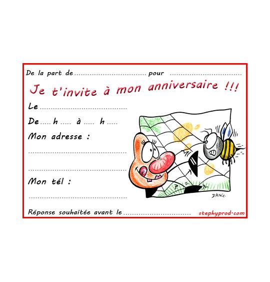 Dessin carte anniversaire pour enfant, l'araignée et le frelon, catégorie Carton invitation anniversaire animaux