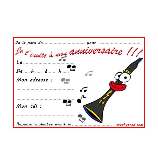 Dessin carte anniversaire pour enfant, la clarinette, catégorie Carton invitation anniversaire musique