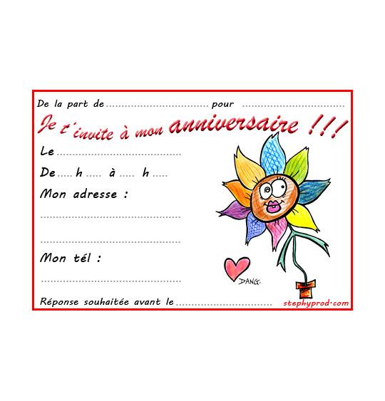 Dessin carte anniversaire pour enfant, la fleur de toutes les couleurs, thème Anniversaire