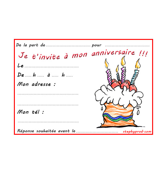 Pin Carte Dinvitation F Te Anniversaire Gratuite Imprimer Cartes On Pinterest