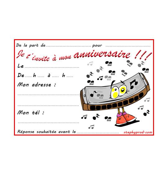 Dessin carte anniversaire pour enfant, un harmonica, catégorie Carton invitation anniversaire musique