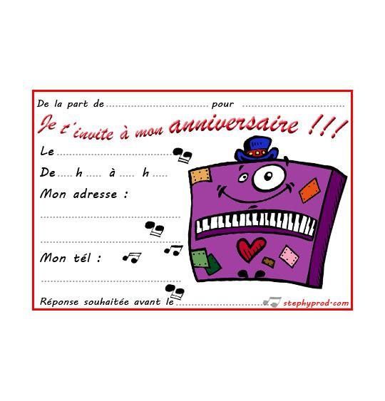 Dessin carte anniversaire pour enfant, un piano un peu fou, catégorie Carton invitation anniversaire musique