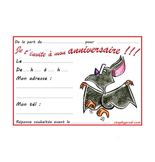 Dessin carte anniversaire pour enfant, une chauve-souris qui danse, catégorie Carton invitation anniversaire animaux