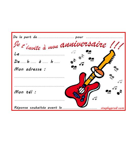Dessin carte anniversaire pour enfant, une guitare électrique Fender, thème Instruments de musique