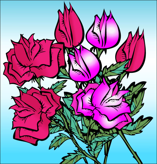 Dessin À la Claire Fontaine, des roses en bouquet, thème Fleurs