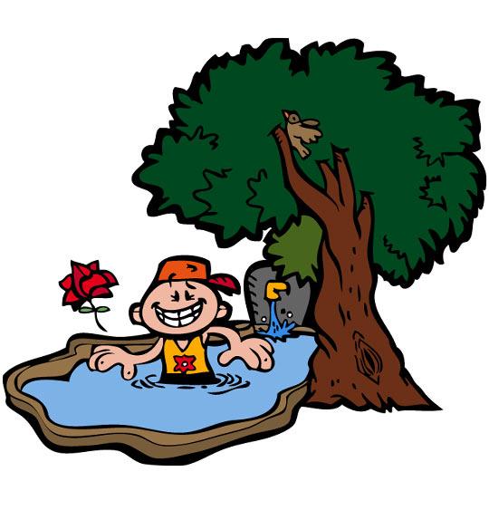 Dessin À la Claire Fontaine, un petit bain dans la fontaine, catégorie Chanson pour enfants À la Claire Fontaine