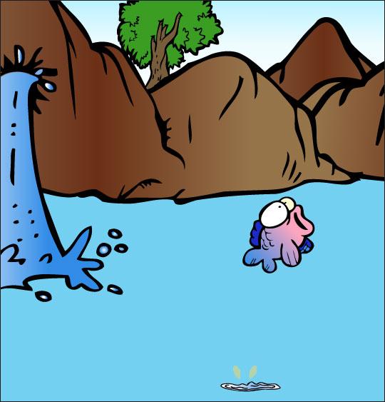 Dessin À la Claire Fontaine, un poisson dans le lac, thème Poisson