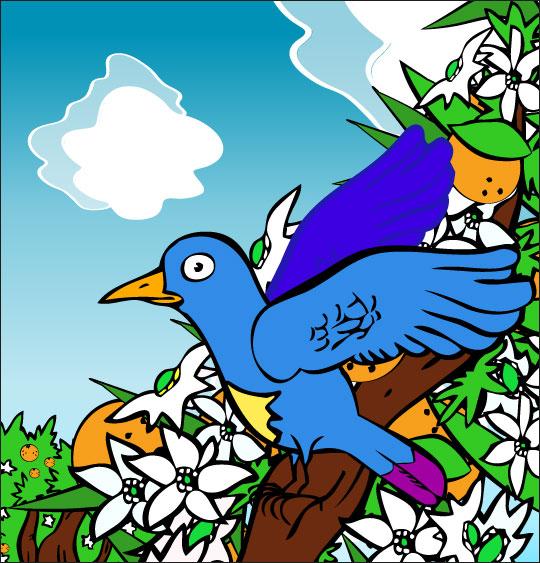 Dessin chanson À la Volette, c'est un petit oiseau qui prit sa volée, catégorie Chanson pour enfants À la Volette