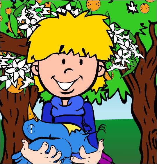Dessin chanson À la Volette, l'oiseau blessé dans les bras du petit garçon, catégorie Chanson pour enfants À la Volette