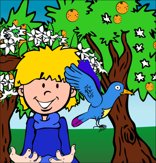 Dessin chanson À la Volette, l'oiseau est sauvé, il s'envole de nouveau, catégorie Chanson pour enfants À la Volette