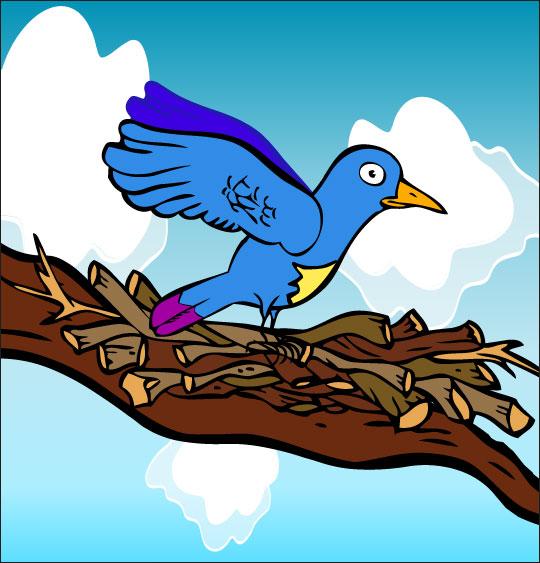 Dessin chanson À la Volette, l'oiseau se pose sur la branche, catégorie Chanson pour enfants À la Volette