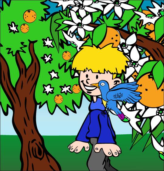 Dessin chanson À la Volette, l'oiseau se pose sur mon épaule, catégorie Chanson pour enfants À la Volette