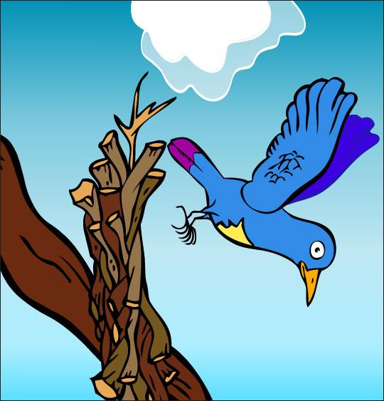 Dessin chanson À la Volette, l'oiseau tombe de la branche, catégorie Chanson pour enfants À la Volette