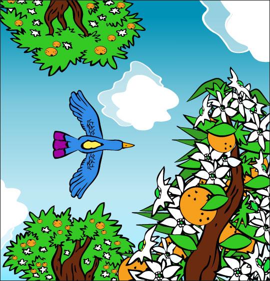 Dessin chanson À la Volette, l'oiseau vole en rasant les orangers, thème Arbres