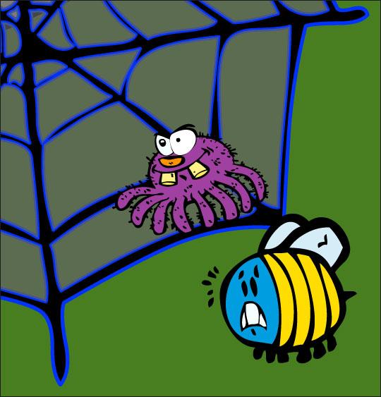 Dessin chanson L'araignée, l'araignée et le frelon dans la toile, thème Insecte