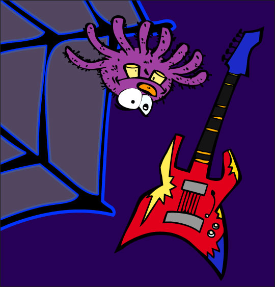 Dessin chanson L'araignée, l'araignée et la guitare électrique, catégorie Chanson pour enfants L'araignée
