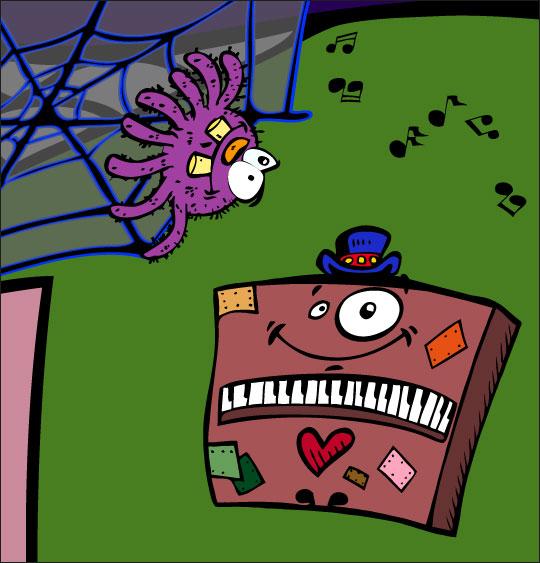 Dessin chanson L'araignée, l'araignée et le piano, catégorie Chanson pour enfants L'araignée