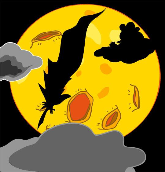 Dessin Au Clair de la Lune, la lune et la plume, thème Ours