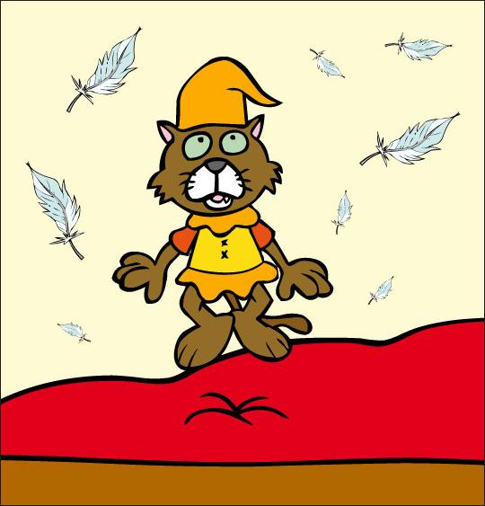 Dessin Au Clair de la Lune, le chat lutin saute sur le lit, thème Lutin