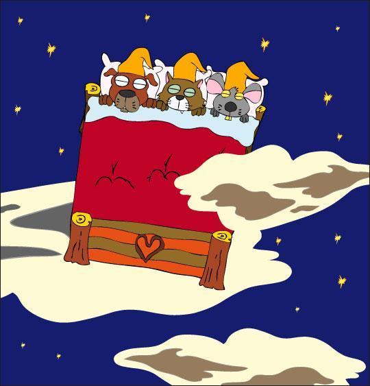 Dessin Au Clair de la Lune, les lutins dorment dans un grand lit, thème Chien