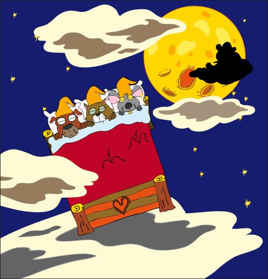 Dessin Au Clair de la Lune, les lutins dorment et volent vers la lune, catégorie Chanson pour enfants Au Clair de la Lune