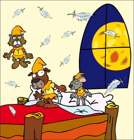 Dessin Au Clair de la Lune, les lutins sautent sur le lit, catégorie Chanson pour enfants Au Clair de la Lune