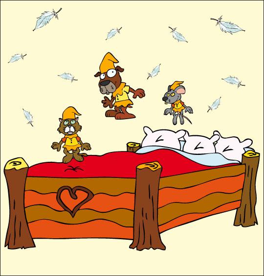 Dessin Au Clair de la Lune, les trois lutins sautent sur le lit, thème Chien
