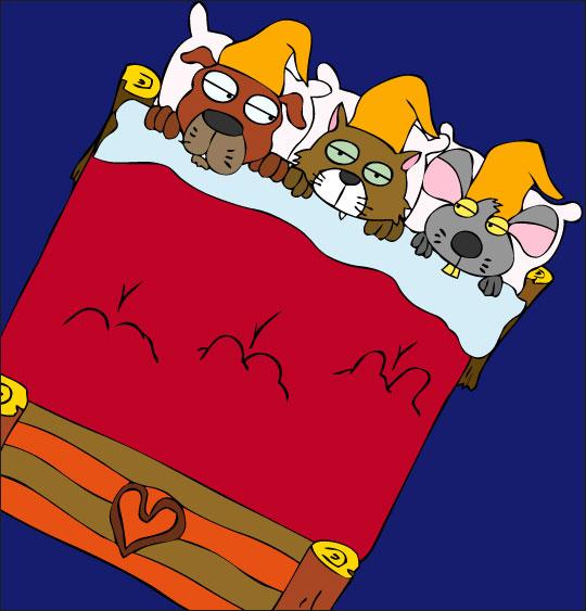Dessin Au Clair de la Lune, les trois lutins vont s'endormir, catégorie Chanson pour enfants Au Clair de la Lune