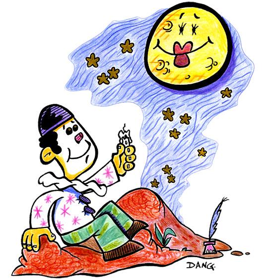 Dessin Au Clair de la Lune, Pierrot et la lune, catégorie Chanson pour enfants Au Clair de la Lune