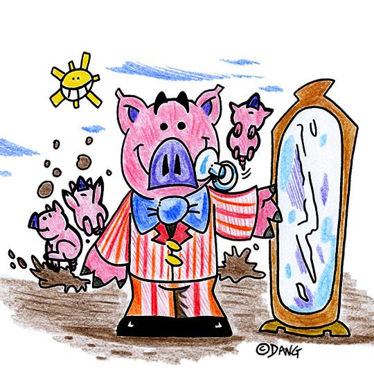 Dessin Bébé cochon, bébé cochon devant la glace, thème Cochon
