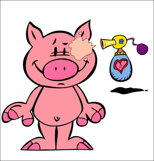 Dessin Bébé cochon, Bébé cochon se met du parfum, thème Cochon