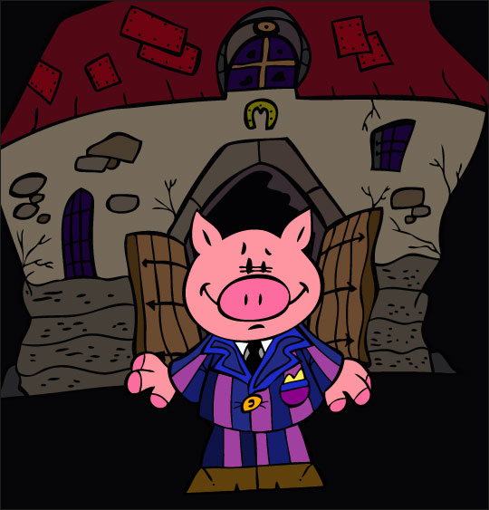 Dessin Bébé cochon, Bébé cochon sort de la ferme pour aller danser, thème Ferme