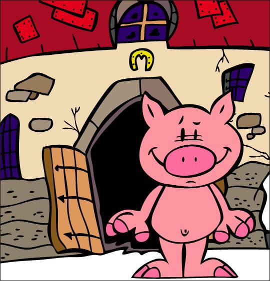 Dessin Bébé cochon, Bébé cochon tout nu devant la ferme, catégorie Chanson pour enfants Bébé cochon