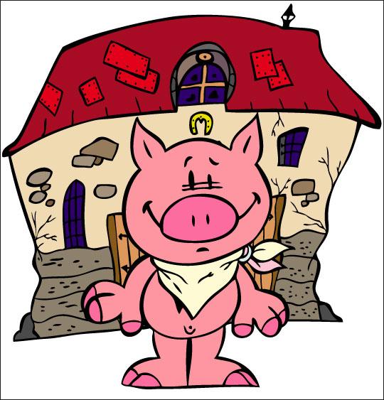 Dessin Bébé cochon, Bébé cochon une serviette autour du cou, thème Ferme