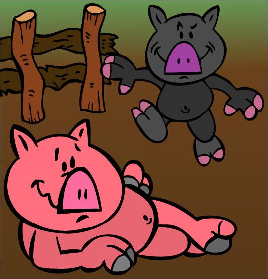 Dessin Bébé cochon, Deux bébés cochons dans la cour de la ferme, thème Cochon