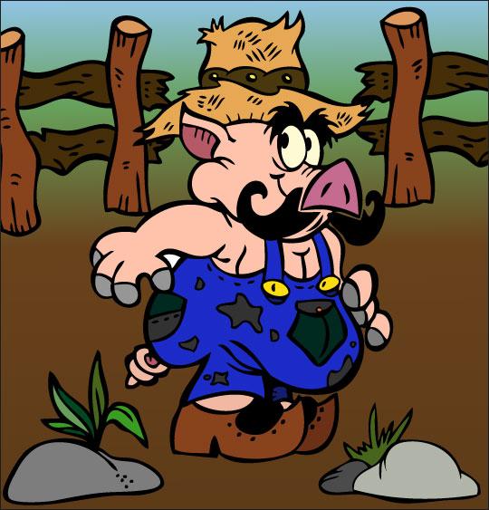 Dessin Bébé cochon, Léon le papa cochon, thème Ferme
