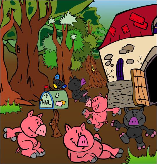 Dessin Bébé cochon, les bébés cochons dans la ferme, thème Ferme
