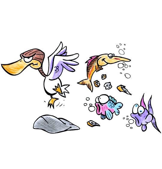 Dessin Berlingot le crapaud, le gros canard et les poissons, catégorie Chanson pour enfants Berlingot le crapaud