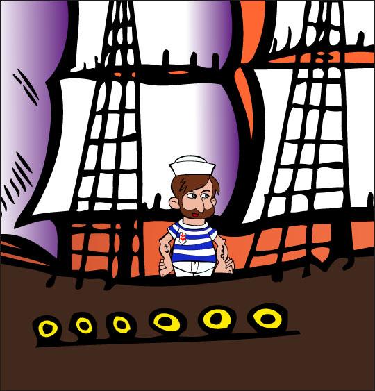 Dessin Brave Marin, le marin est sur son bateau, thème Hommes