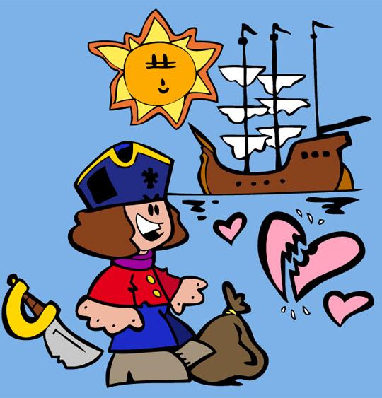 Dessin Brave Marin, le marin et son beau bateau, thème Hommes