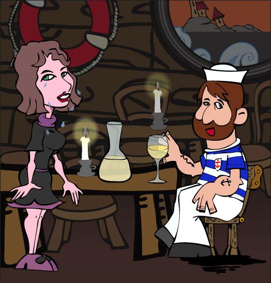 Dessin Brave Marin, pauvre marin boit un verre, thème Ustensiles de cuisine