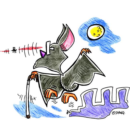 Dessin Chauve-souris, chauve-souris aveugle mais avec un radar, thème Halloween