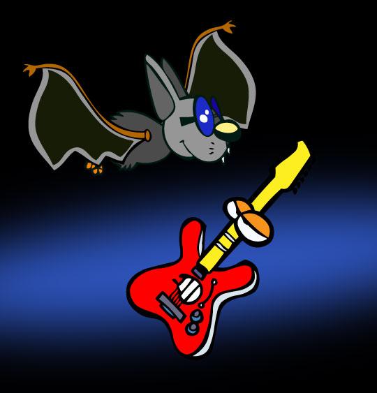 Dessin Chauve-souris, chauve-souris et la guitare dans le ciel, catégorie Chanson pour enfants Chauve-souris