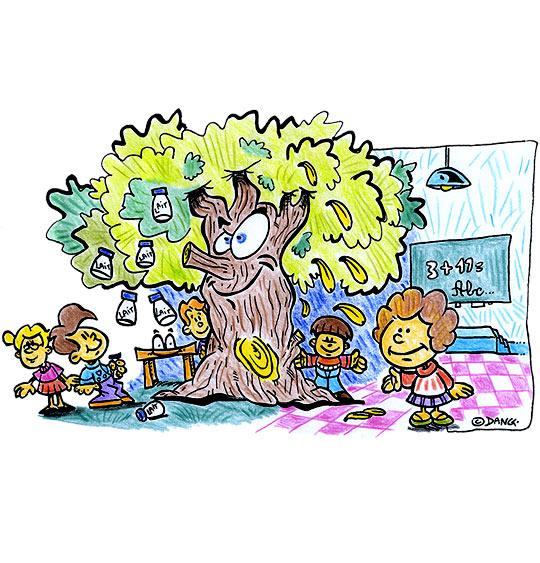 Dessin Dans mon École à Moi, l'arbre dans l'école, catégorie Chanson pour enfants Dans mon École à Moi