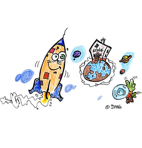 Dessin Dans mon École à Moi, la fusée, catégorie Chanson pour enfants Dans mon École à Moi