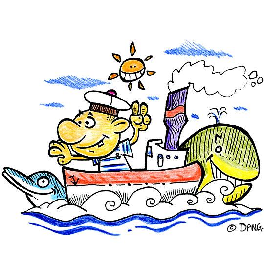 Dessin Il était un petit navire, un mousse sur un bateau, catégorie Chanson enfant de marins Il était un petit navire