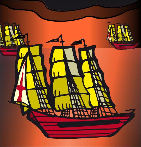Dessin Le 31 du mois d'août, les bateaux anglais, catégorie Chanson de marins Le 31 du mois d'août