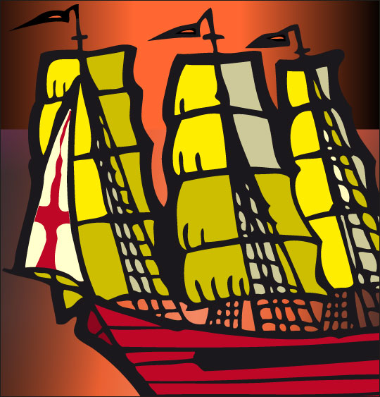 Dessin Le 31 du mois d'août, un navire anglais, catégorie Chanson de marins Le 31 du mois d'août