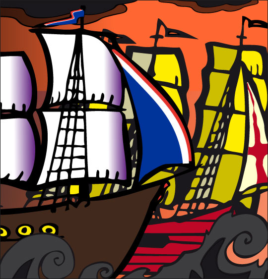 Dessin Le 31 du mois d'août, un navire français et un navire anglais, catégorie Chanson de marins Le 31 du mois d'août