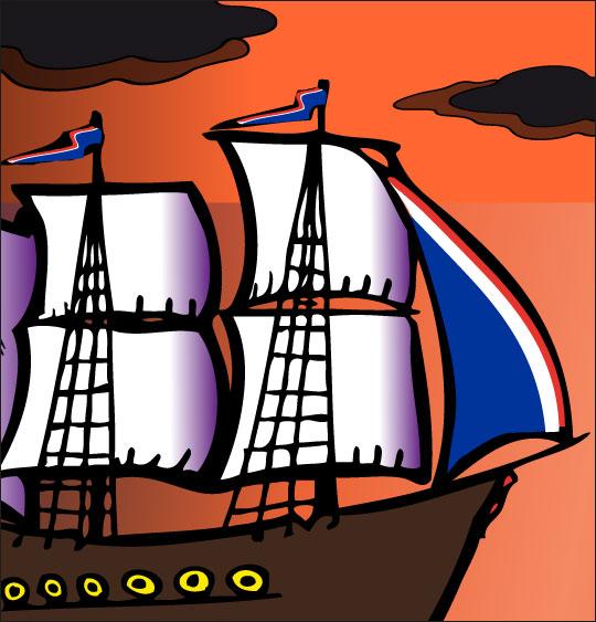 Dessin Le 31 du mois d'août, un navire français, catégorie Chanson de marins Le 31 du mois d'août
